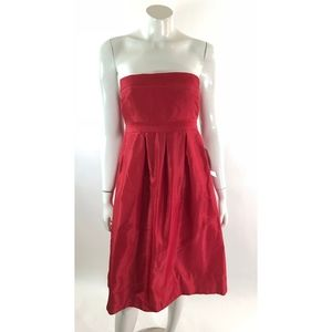 J Crew Womens Strapless Dress Size 6 Red Silk